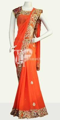Excellent orange design heavy work bridal wear saree