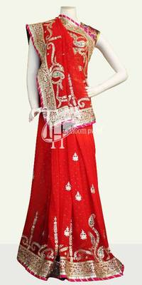 Royal red georgette full heavy work bridal saree
