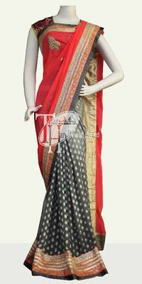 Peach designer gota-patti work stylish bollywood saree