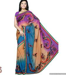 Buy Purple and Brown shaded handwork Saree ombre-saree online