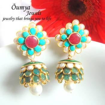 Green Blue Paachi earrings