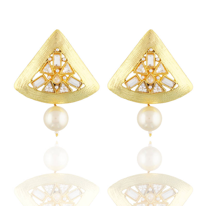 exclusive gold plated with white kundan triangular