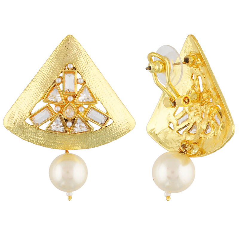 buy exclusive gold plated with white kundan triangular