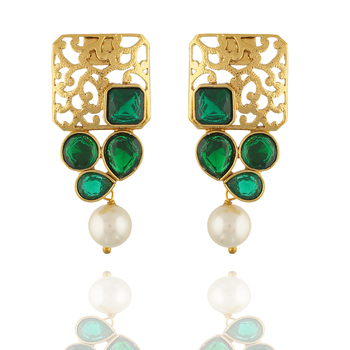 Awesome Designer Gold Pated With Green Stones Square Shape Earrings for Girls and Women