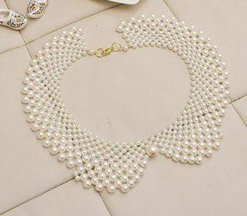 Faux Pearl Bib Collar Necklace