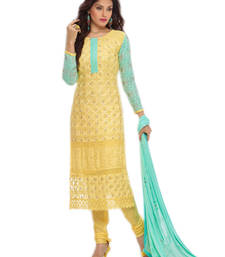 Buy Yellow chiffon embroidered semi stitched salwar with dupatta party-wear-salwar-kameez online