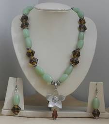 Buy Ceramic and Glass Beads with GS Pendant necklace-set online
