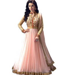 Buy Pink georgette embroidered semi stitiched salwar with dupatta anarkali-salwar-kameez online