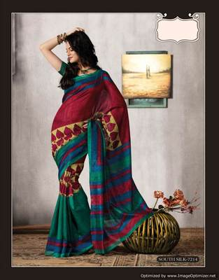 Maroon Multi Bhagalpuri Cotton Silk Saree SC7214