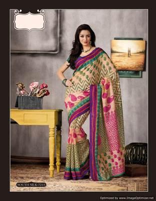 Beige Multi Bhagalpuri Cotton Silk Saree SC7215