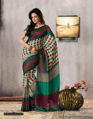 Cream Multi Bhagalpuri Cotton Silk Saree SC7222
