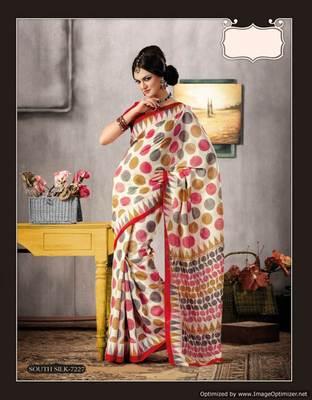 Offwhite Bhagalpuri Cotton Silk Saree SC7227
