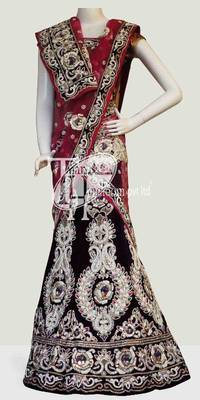Royal purple velvet excellent design work wedding lehenga