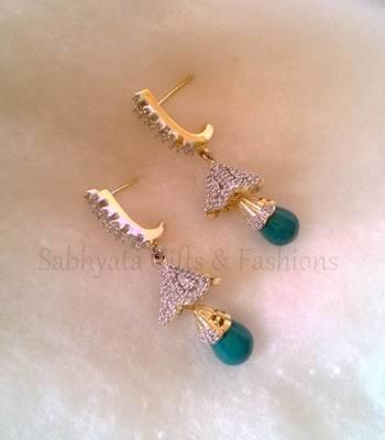 Green Dropping AD Mini Earrings