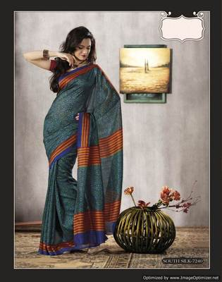 Teal Blue Bhagalpuri Cotton Silk Saree SC7240
