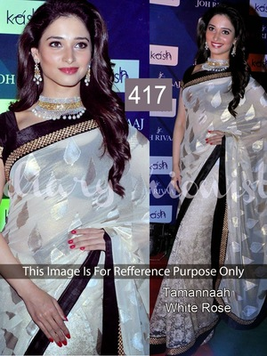 White Silk Barso Designer saree