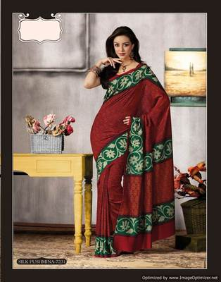 Red Bhagalpuri Cotton Silk Saree SC7231
