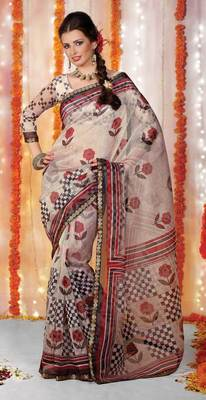 Supernet Printed Lacer Saree SC1101