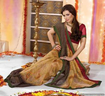 Supernet Printed Lacer Saree SC1108