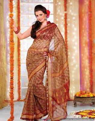Supernet Printed Lacer Saree SC1111