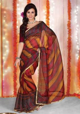 Supernet Printed Lacer Saree SC1121