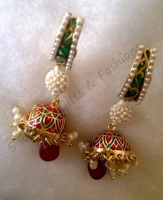 Red Dropping With Green Meena Danglers