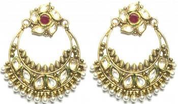 costume jewellery ruby kundan pearl gold tone dangle earring a19