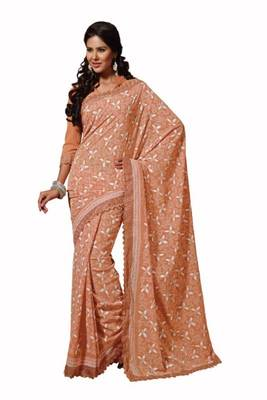 Light Orange Color Georgette Saree