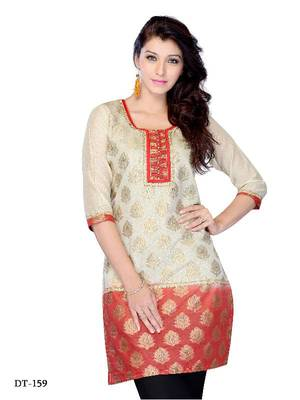 Beige and Red Color  Jacquard printed Kurti