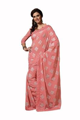 Apricot Color Georgette Saree