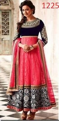 Pink net embroidered unstitched salwar with dupatta