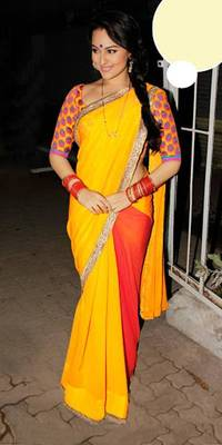 Sonakshi sinha yellow and red designer saree with blouse