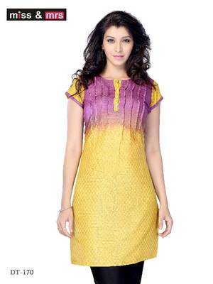 Violet and Yellow Color  Jacquard printed Kurti