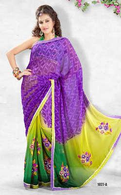 Hypnotex Lavender Georgette Heavy designer saree Blaze1027a