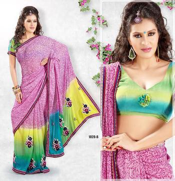 Hypnotex Lavender pink Georgette Heavy designer saree Blaze1028b