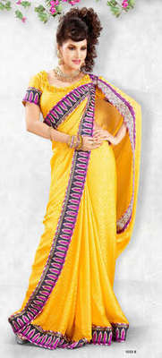 Hypnotex Yellow Jacquard Crepe Heavy designer saree Blaze1033b