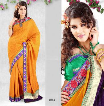 Hypnotex Goldenrod Dupion Silk Heavy designer saree Blaze1036b