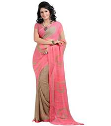 Buy peach printed pure georgette saree With Blouse ombre-saree online