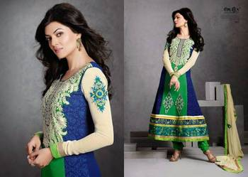 Sushmita D no 402 Blue Heavy Embroidery Semi Stitched Pure Georgette Anarkali