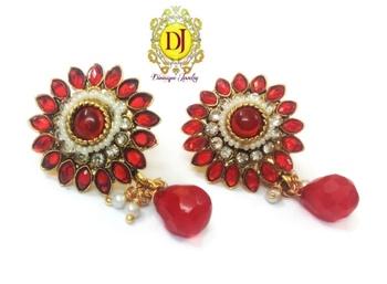 Beautiful red n white flower earrings