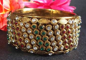 Golden Multi color stone kada bangles
