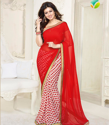 Buy Red  printed georgette saree With Blouse Saree online