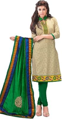 Beige and green Cotton designer salwar suit