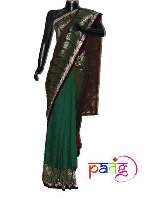 Brown and Green Luxe Sari
