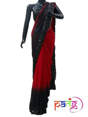 Red and Black Shaded Sequins Sari