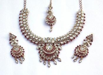 Indian Vintage Royal Kundan, Green And Purple Stone Stud Necklace Set
