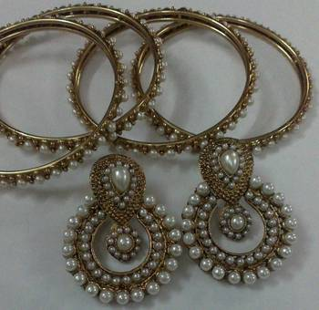 Pearl & Only Pearl Bangles and earrings Set