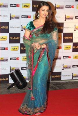 Aishwarya Rai Net Sequins Work Green Bollywood Style saree