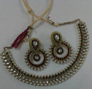 Traditional Multi Colour Necklace set with Designer Maroon colour Earings