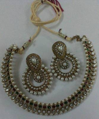Traditional Multi colour Necklace set with Designer pearl Earings